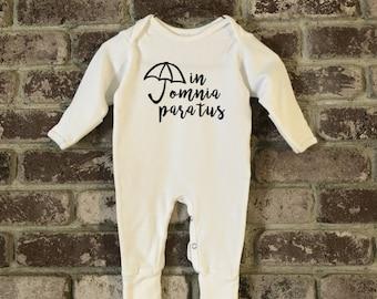 Gilmore Girls Baby, Gilmore Girls Baby Pajamas, Gilmore Girls Baby Shower Gift, Gilmore Girls Baby Clothes, In Omnia Paratus, In Omnia Baby