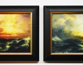 Thomas Moran, Framed Art, Home Decor, Decorative Framed Pictures, Wall Art, Small Framed Seascapes, Gold Frames, 5 x 7 Framed Art, Seascapes