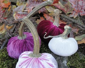 Handmade Plush Pretty Pretty Pink velvet pumpkins  with real dried stems.