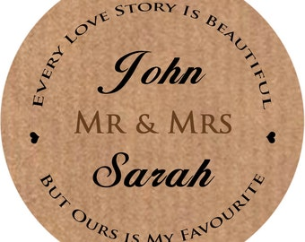 Personalised wedding stickers, custom favour labels Kraft brown Custom Name, 3 Available sizes 37mm x 35, 51mm x 15, 60mm x 12