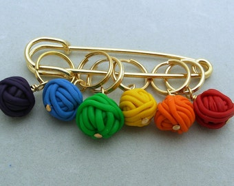 Stitch Markers YARN BALLS  for Knit or Crochet set of 6 knitting wool crochet
