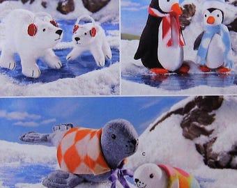 Stuffed Animal Sewing Pattern UNCUT Simplicity 1298 polar bear penguin seal