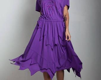 vintage 80s deconstructed dress beaded soutache purple handkerchief hem ONE SIZE S M L small medium large