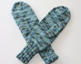 Adult Mittens - Knit Mittens - Blue Mittens - Green Mittens - Crazy Striped Mittens - Spring Brook Variegated - Multicolor Ladies Mittens