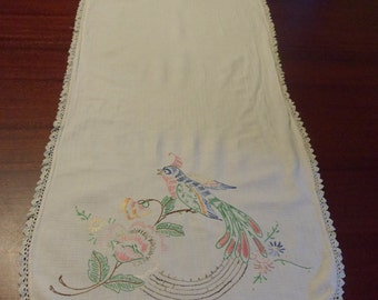 Oriental bird Table Runner Embroidered, Table Scarf, Couch Table Scarf or Runner