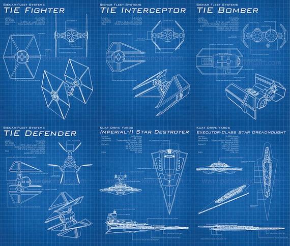 Star wars galactic empire blueprints art prints set tie malvernweather Image collections
