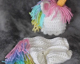 Crochet Unicorn hat and diaper cover set available in several sizes