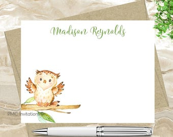 Custom Note Cards, Personalized Stationery Set, Watercolor Personalized Stationery, Owl, Notecard Set, FREE SHIPPING