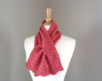 Neck Warmer, Mongolian Cashmere, Keyhole Scarf, Pull Through Scarf, Hand Knit, Bow Scarflette, Womens Scarf, Rose Pink, Variegated Pink