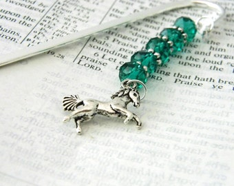 Horse Bookmark with Emerald Green Glass Beads Shepherd Hook Steel Bookmark Silver Color