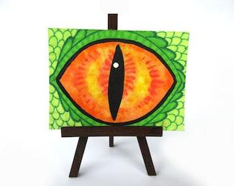 Original ATC, gold dragon eye art card, green dragon illustration, mixed media fantasy artwork, D&D rpg art, watercolor dragon nerd gift