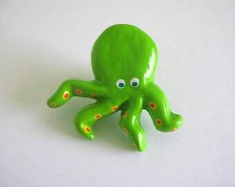 Green Octopus Knob - Ceramic Drawer Knob