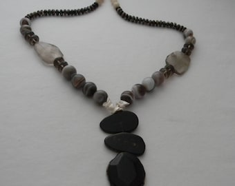 Agate & antler beads pendant on Botswana agate beads necklace , faceted smoky quarts beads , agate jewelry , unusual agate necklace w pearls