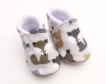 Booties baby-toddler leather sole and cotton top with foxes - shoes soft anti-slip foxes
