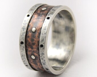 Men's band ring - unique man ring,men's wedding band,wide man's band,man rustic ring,men silver ring,mens ring,engagement ring,mens band