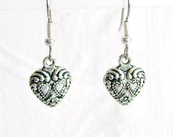 Small Antiqued Silver Heart Pierced or Clip On Earrings