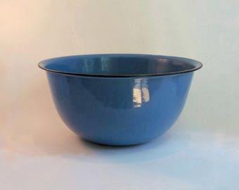 Vintage Large Enamelware Bowl 1930s Blue with Black Trim Farmhouse Bowl
