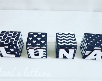 Monochrome baby blocks, black and white blocks personalised blocks, wooden blocks, name blocks, black & white baby nursery, unique gift*