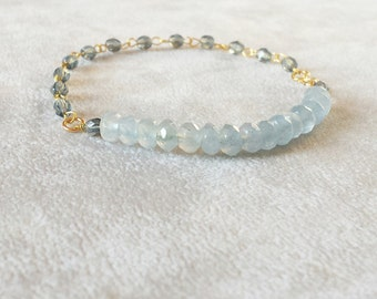 Light Blue Tourmaline Bracelet, Christmas gift for her, Delicate Gold Fill Boho Chic gemstone stacking bracelet, healing crystals bracelet