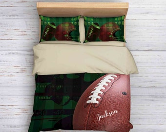 American Football Bedding, Football Duvet Cover, Personalized Bedding, Athletic Bedding, Sport inspired Bedding Set, College Bedding