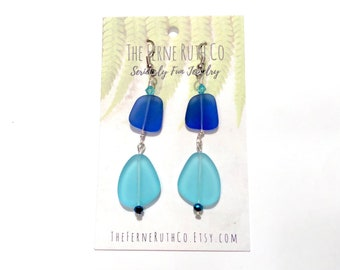 blue and turquoise earrings, faux sea glass earrings, beach earrings, blue earrings, Turquoise blue earrings
