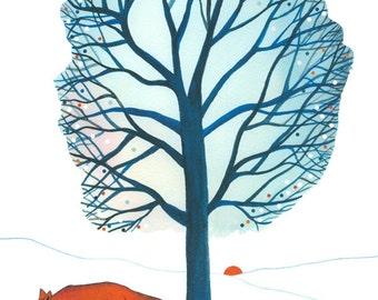 "10"" x  8"" Art Illustration Print Fox Landscape Tree Winter Blue White Orange Drawing Watercolor"