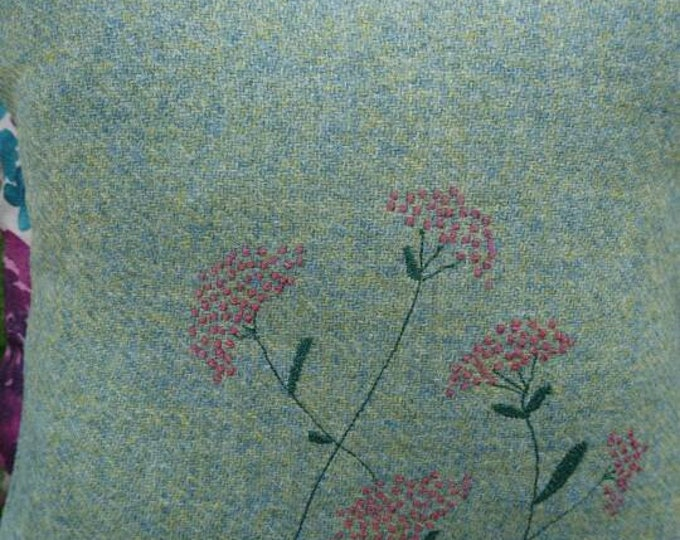 Hand Crafted Harris Tweed summer flowers cushion cover