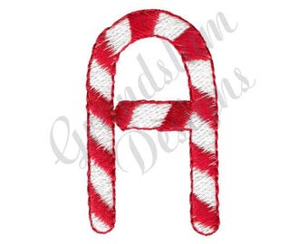 Candy Cane Letter A - Machine Embroidery Design