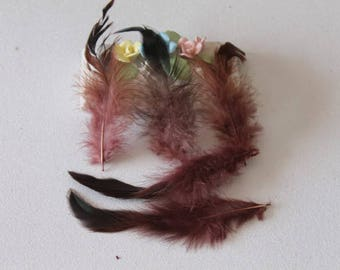 10 brown feathers - plush - dream catcher - jewelry - decoration, 10-13 cm
