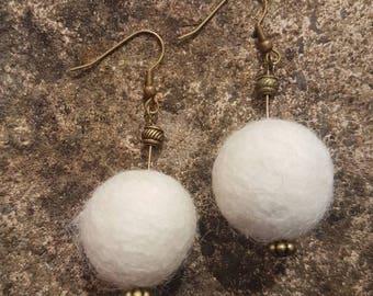 White Felted Earrings