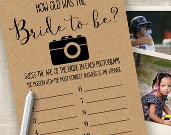 How old was the Bride game, Bridal Shower games, printable rustic games, party games, G101