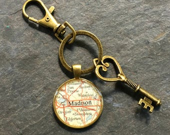 Madison Keychain Bronze with Ring Swivel Clasp and Key  Wisconsin Vintage Map