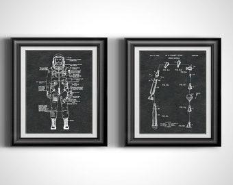 NASA Astronaut Moon Space Suit * Outer Space Rocket * Kids Wall Art * Digital Download Art * Digital Prints * Printable Art Set of 2 PP 6209