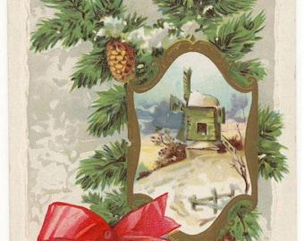 Vintage 1914 Christmas Postcard Embossed Windmill in Snow