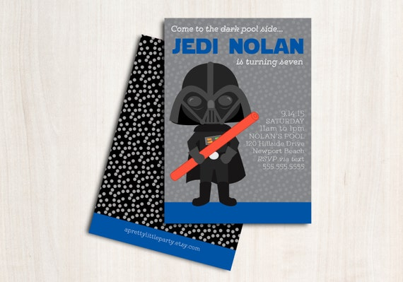 Darth Pool Party Invitation - Vader Swim Birthday - New Star Wars Party Supplies
