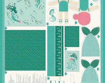 20% off thru Apr 24th CORAL QUEEN of the SEA--panel Moda fabric makes mermaid doll, seahorse, blanket/quilt 20512-12