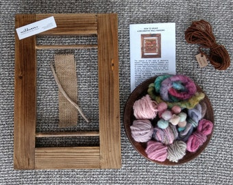 Small Weaving Kit - Tapestry, Learn to Weave,  Woven Wallhanging, Weaving Loom Kit, Handweaving Kit, Beginners Loom, Kids Craft Kit