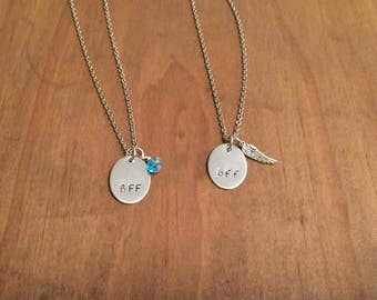 BFF Necklace Set- Best Friends Necklace Set- Hand Stamped Necklace- Stainless Steel Necklaces- Gifts for Her- Womens Jewelry- Oval Jewelry