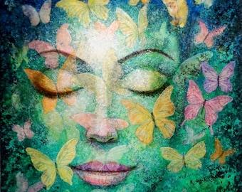 Butterflies Meditation Art spiritual Buddha Zen Goddess giclee print of painting by Sue Halstenberg