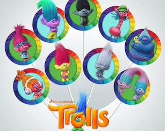 """INSTANT DOWNLOAD - Dreamworks Trolls 2"""" Party Cupcake Toppers - 9 Different Designs - Party Printables - DIY Birthday -Party Circles"""