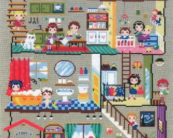 Cute modern cross stitch patterns and kits - little house featuring cute scenes, daily activities motifs, counted cross stitch