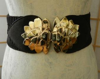 Brown Elastic Wide Vintage Stretch Belt, Cinch Belt, Gold Tone Leaf Buckle, Fashion Accessory