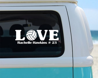 Volleyball Love with Name Vinyl Window Decal - Car Sticker - Sports Decal - Car Decal - Volleyball Decal - Volleyball - Sports - Vinyl Decal