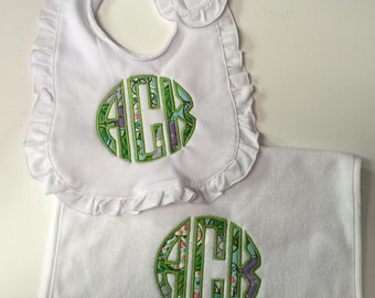 Monogrammed Bib & Burp Cloth set