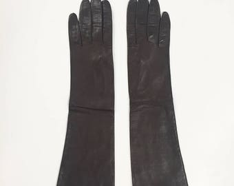 80s Brown Women's Leather Opera Gloves Size Small/Medium