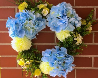 Limelight Grove Wreath, Front Door Wreath, Spring Decor, Summer Decor, Country Decor, Blue Hydrangea, Lime Chrysanthemum, Boxwood Greenery
