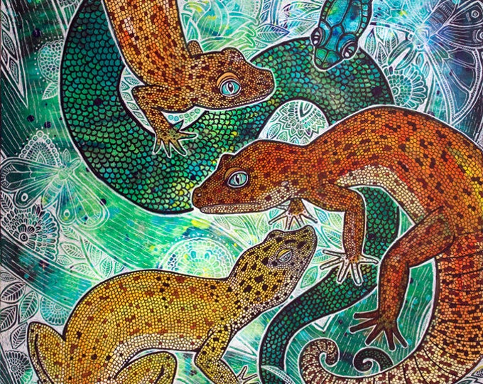 Geckos and Snake / Lizard Original Artwork by Lynnette Shelley