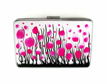 RFID Metal Accordion Wallet with Card Organizer Hand Painted Enamel Fuchsia Blossoms Inspired Personalized and Custom Color Options