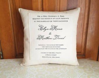 Wedding Invitation Gift   Wedding Invitation Keepsake   Wedding Gift Pillow   Wedding Gifts Personalized   Wedding Invitation Pillow
