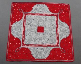 Renaissance Look - Vintage 1950s Cotton hankie Handkerchief